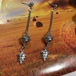 Acorn leaf silver handmade drop earrings stainless